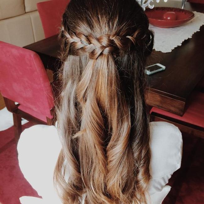 60 Cute Easy Half Up Half Down Hairstyles: Wedding, Prom Inside 2018 Pretty Pinned Back Half Updo Braids (View 19 of 25)