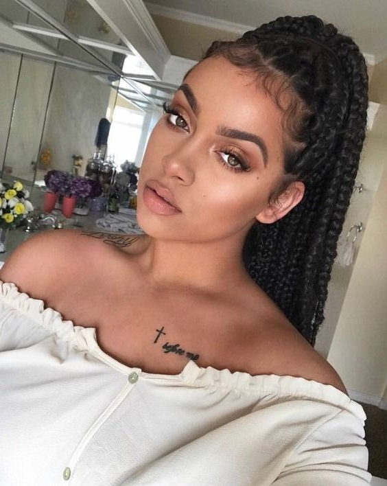 60 Totally Chic And Colorful Box Braids Hairstyles To Wear! Throughout Best And Newest Blue Sunset Skinny Braided Hairstyles (View 9 of 25)