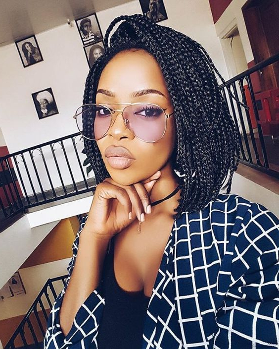 60 Totally Chic Box Braids Hairstyles | Looking | Short Box Inside 2018 Short And Chic Bob Braid Hairstyles (View 18 of 25)