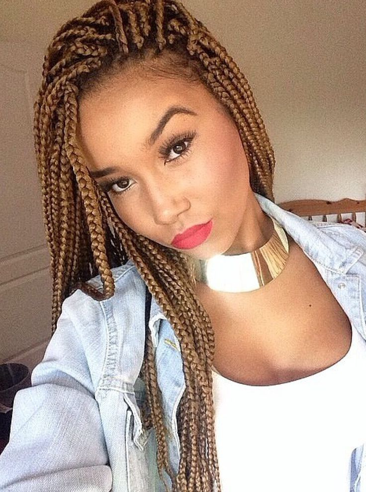 65 Box Braids Hairstyles For Black Women In Current Light Brown Braid Hairstyles (View 6 of 25)