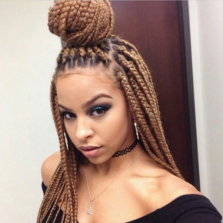 65 Box Braids Hairstyles For Black Women Intended For Current Blonde Braid Hairstyles (View 11 of 25)