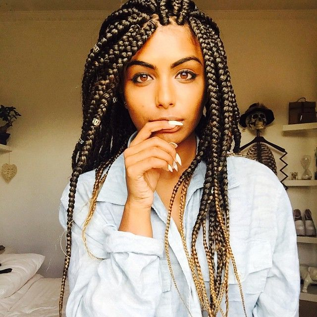 65 Box Braids Hairstyles For Black Women With Most Recently Skinny Braid Hairstyles With Purple Ends (View 21 of 25)