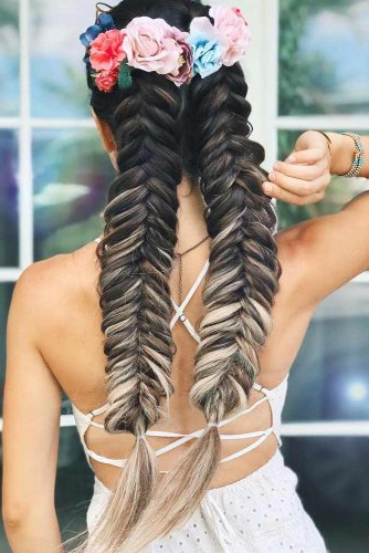 65 Charming Braided Hairstyles | Lovehairstyles In Current Double Headband Braided Hairstyles With Flowers (View 20 of 25)