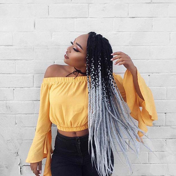 68 Best Black Braided Hairstyles To Copy In 2019 | Stayglam Regarding Most Up To Date Two Ombre Under Braid Hairstyles (View 20 of 25)