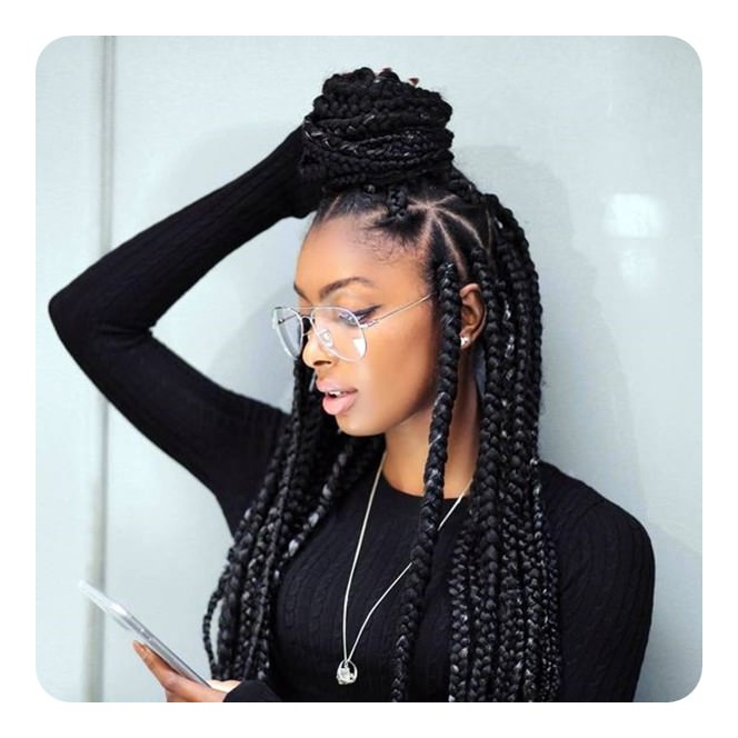 68 Triangle Braids For Women That Really Stand Out – Sass Regarding Most Up To Date Geometric Blonde Cornrows Braided Hairstyles (View 20 of 25)