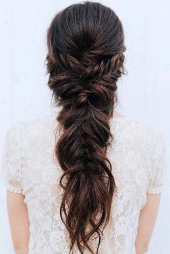 72 Best Wedding Hairstyles For Long Hair 2019 | Wedding Forward inside Newest Mermaid Fishtail Hairstyles With Hair Flowers