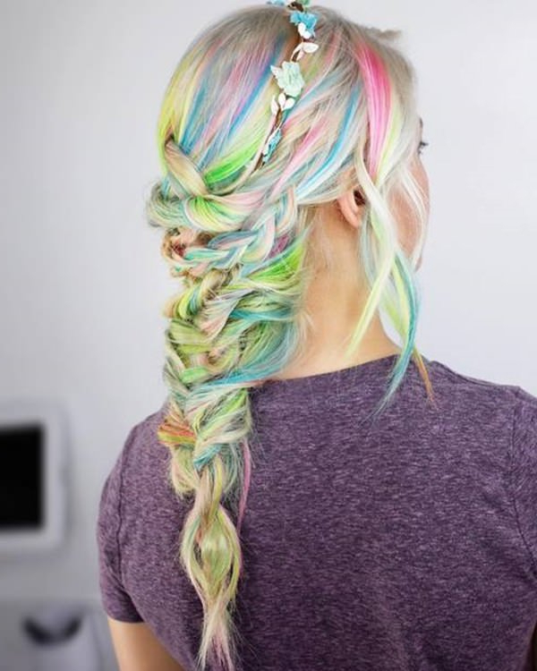 73 Extraordinary Mermaid Hairstyles That Will Turn Heads inside 2018 Cotton Candy Colors Blend Mermaid Braid Hairstyles