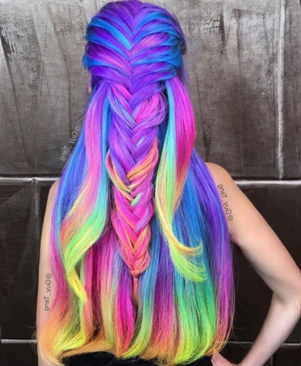 73 Extraordinary Mermaid Hairstyles That Will Turn Heads with regard to 2018 Cotton Candy Colors Blend Mermaid Braid Hairstyles