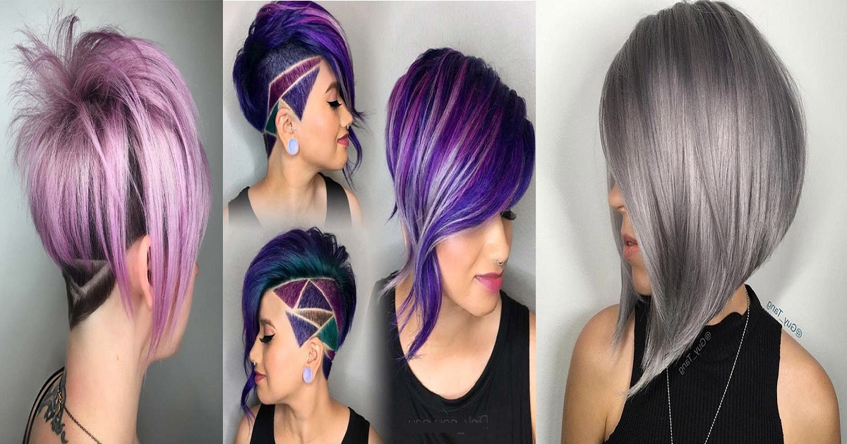 76 Short Hairstyles For Women: Pixie, Bob, Undercut Hair in Best and Newest Purple Pixies Bob Braid Hairstyles