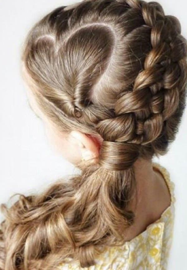 79 Cool And Crazy Braid Ideas For Kids inside Recent Heart-Shaped Fishtail Under Braid Hairstyles