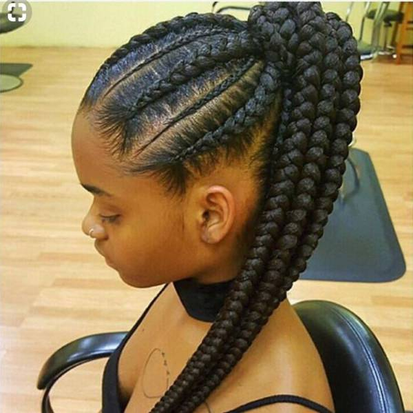 80 Amazing Feed In Braids For 2019 For Most Popular Ponytail Braid Hairstyles With Thin And Thick Cornrows (View 17 of 25)