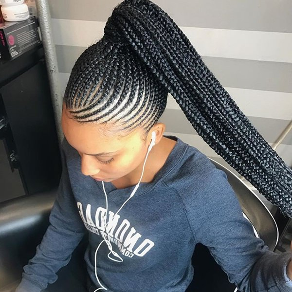 80 Amazing Feed In Braids For 2019 inside Best and Newest Side Pony And Raised Under Braid Hairstyles