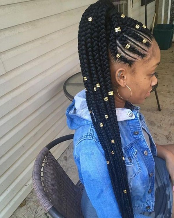 80 Amazing Feed In Braids For 2019 regarding Most Popular Side Pony And Raised Under Braid Hairstyles