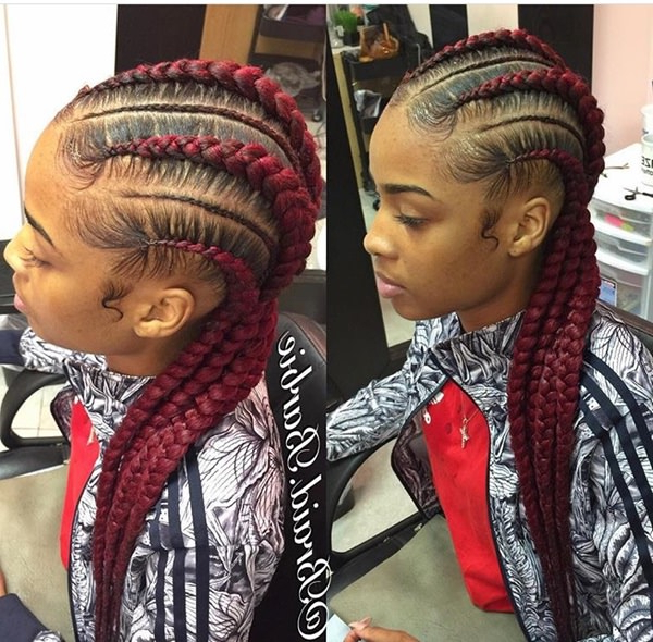 80 Amazing Feed In Braids For 2019 throughout Current Colorful Cornrows Under Braid Hairstyles