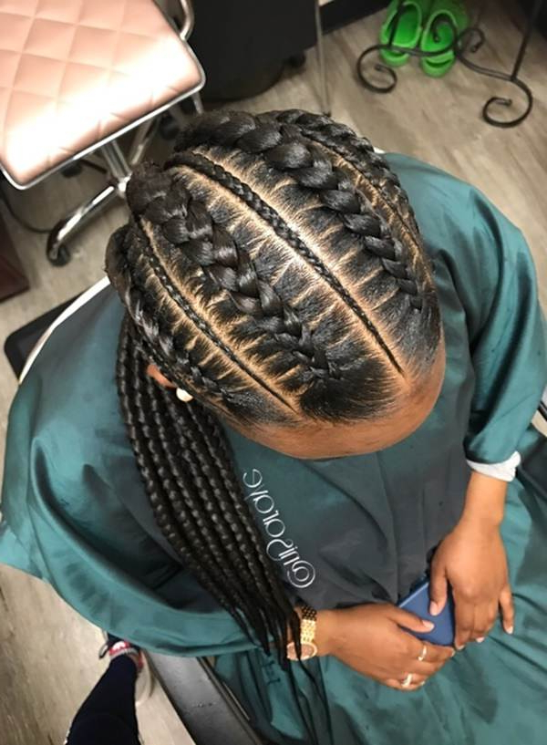 80 Amazing Feed In Braids For 2019 with regard to Most Current Thin And Thick Cornrows Under Braid Hairstyles