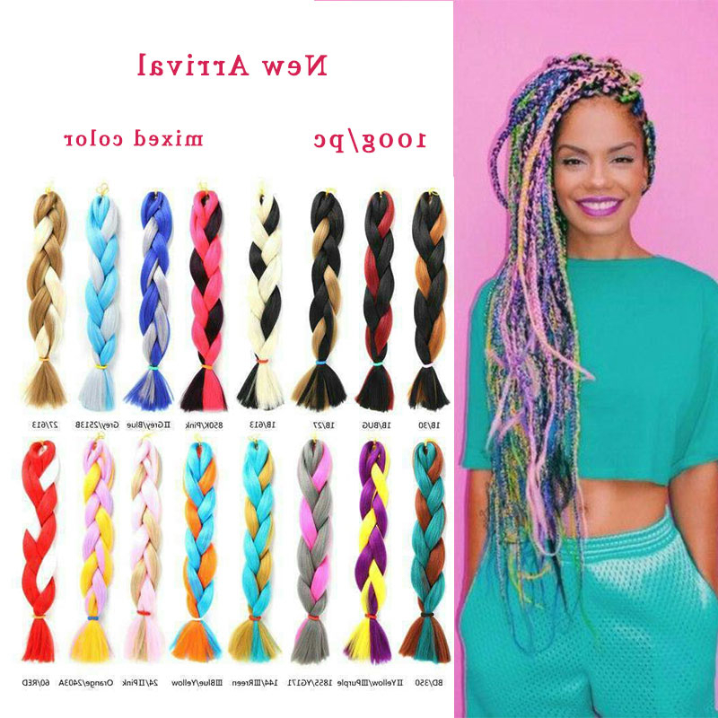 Afro Synthetic Braiding Hair Expression Mixed Color Crochet Box Braids Jumbo Crochet Ombre Braid Hair – Buy Two Colored Synthetic Braiding Hair Ombre For 2018 Two Ombre Under Braid Hairstyles (View 13 of 25)