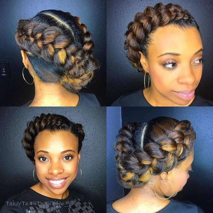 Asymmetrical Halo Braid With Highlights | Natural Hair Inside Most Current Voluminous Halo Braided Hairstyles (View 11 of 25)