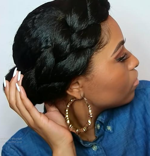 Beautiful Crown Braid Hairstyles In Best And Newest Black Crown Under Braid Hairstyles (View 17 of 25)