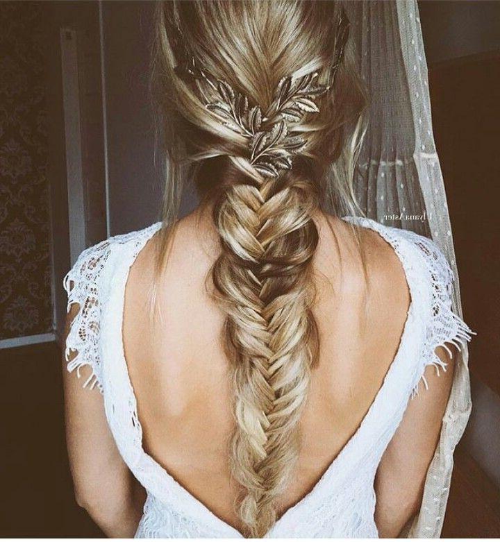 Beautiful Fishtail Braid #wedding #elegant | Homecoming In Inside Best And Newest Elegant Blonde Mermaid Braid Hairstyles (View 3 of 25)