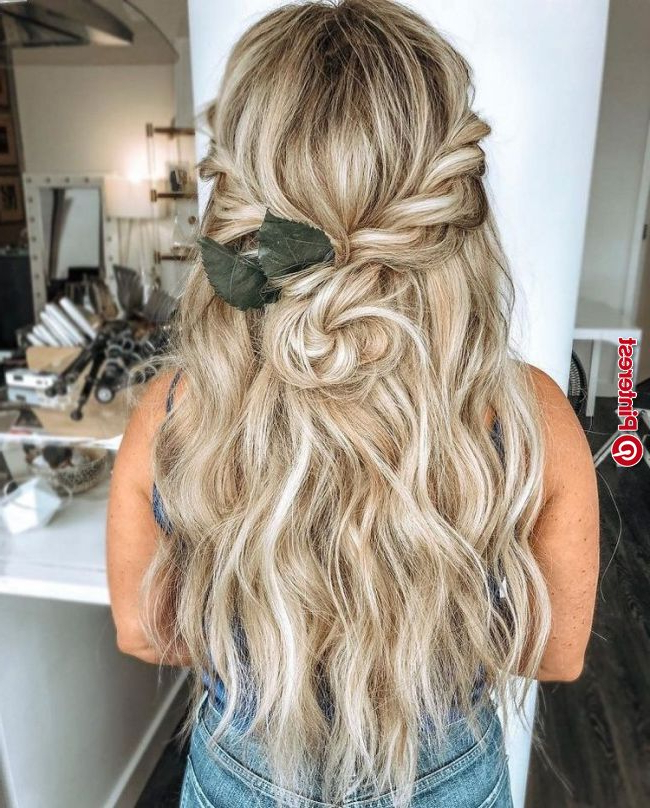 Beautiful Half Up Half Down Wedding Hairstyle Ideas,braided With Most Recent Boho Half Braid Hairstyles (View 10 of 25)