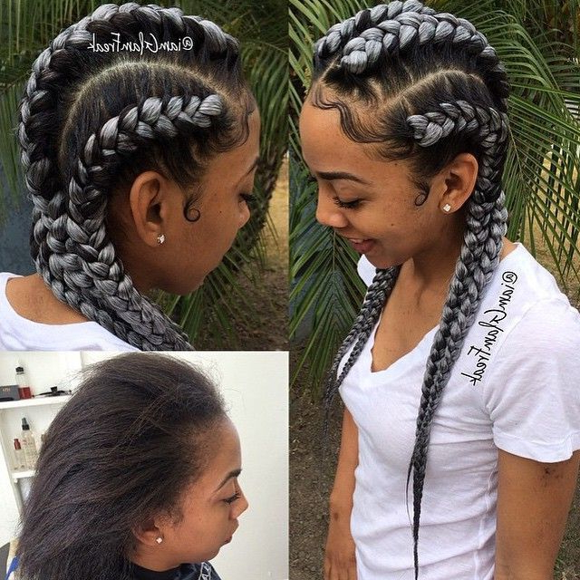 Black And Grey Cornrows | Things I Love In 2019 | Braided Within Most Recently Long And Big Cornrows Under Braid Hairstyles (View 2 of 25)