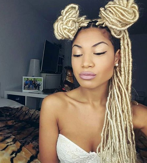 Blonde Faux Locs | 35 Stunning Blonde Faux Locs Looks Inside Most Recently Blonde Faux Locs Hairstyles With Braided Crown (View 15 of 25)