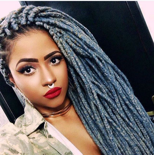 Blue Yarn Braids …   Hair Braids In 2019… For Latest Blue And Gray Yarn Braid Hairstyles With Beads (View 4 of 25)
