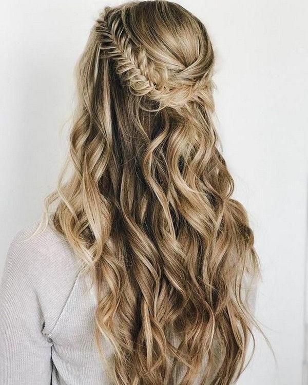 Boho Braids Half Up Half Down Wedding Hairstyle Pertaining To 2018 Boho Half Braid Hairstyles (View 6 of 25)