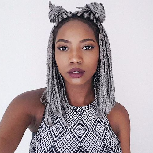 Box Braids Double Buns | Hair | Short Box Braids Hairstyles Intended For Newest Bob Braid Hairstyles With A Bun (View 25 of 25)