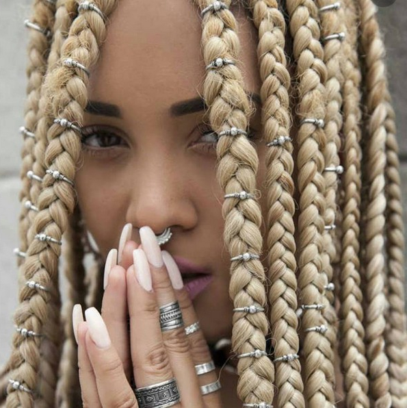 Box Braids Hair Styles With Accessorize – Blonde Braid Throughout Most Recent Blonde Braid Hairstyles (View 14 of 25)