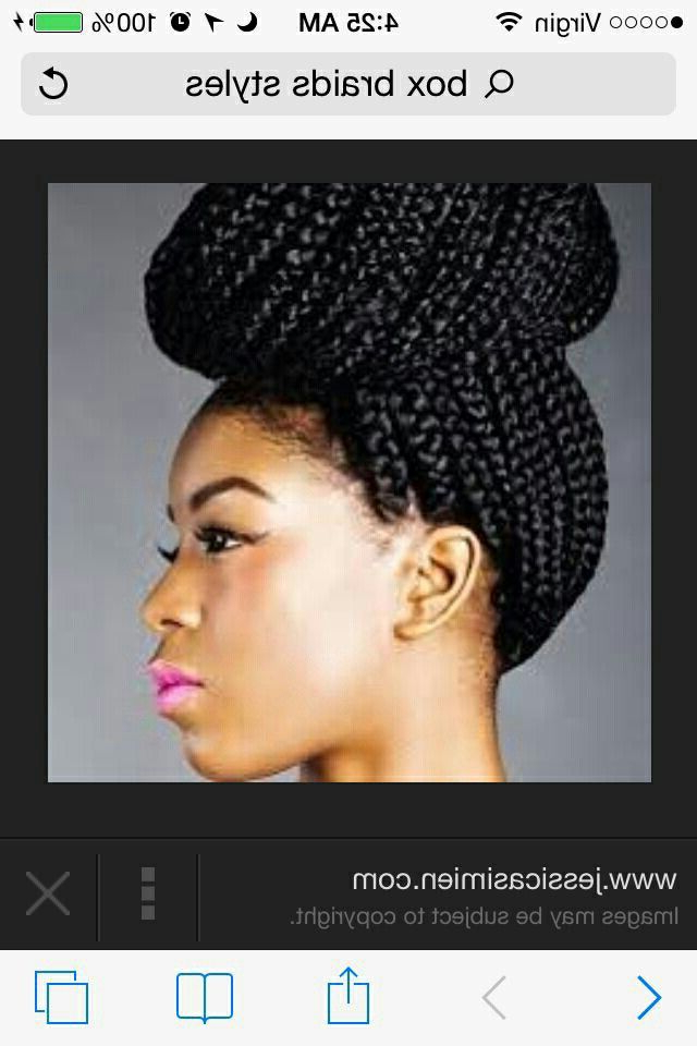 Box Braids Styled Into A Donut Bun   Buns And All Within Most Current Funky Sock Bun Micro Braid Hairstyles (View 22 of 25)