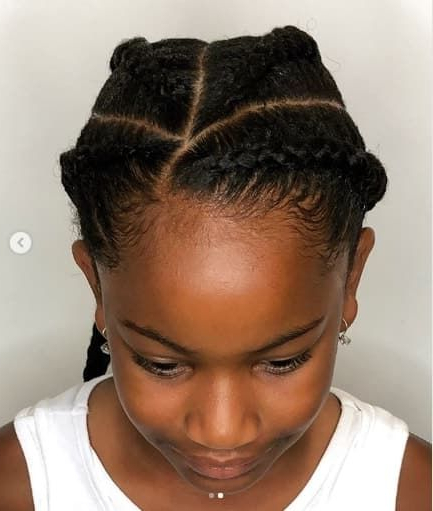 Braided Hairstyle With Angled Part | Girls Haircuts | Braids With Regard To Most Popular Angled Cornrows Hairstyles With Braided Parts (View 2 of 25)
