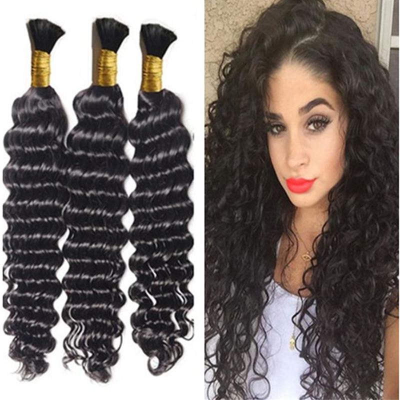 Braiding Hair Bulk Deep Wave Bulk Hair For Micro Braids On Full Head Same Length 3 Bundles Free Dhl Regarding Recent Crochet Micro Braid Hairstyles Into Waves (View 15 of 25)