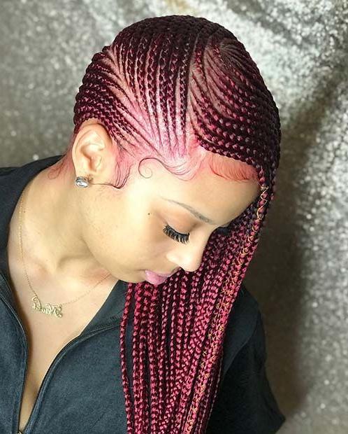 Burgundy Tone Lemonade Braids #africanbraids   Hair Inside Most Recent Cherry Lemonade Braided Hairstyles (View 3 of 25)