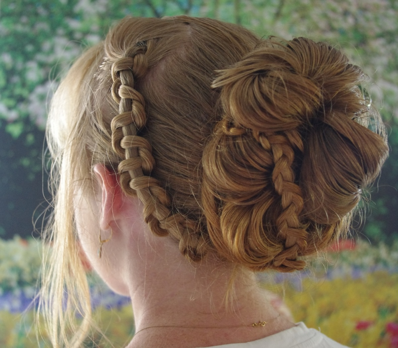 Chain Braid Updo~ My Look For Today | New Hairstyle 2015 throughout Latest Funky Sock Bun Micro Braid Hairstyles