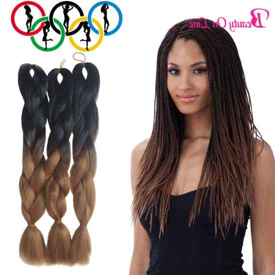 China 3X Jumbo Twist Braid Ombre Xpression Kanekalon Pc100G Throughout Most Recent Two Ombre Under Braid Hairstyles (View 19 of 25)