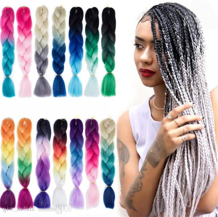 Colorful Braiding Hair Zf Jumbo Braid Hair Omb 14869 With Regard To 2018 Multicolored Extension Braid Hairstyles (View 13 of 25)