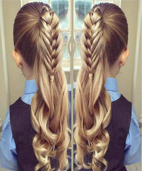 Combed Back With Reverse Braid And Curvy Tail within Most Recently Curvy Braid Hairstyles And Long Tails