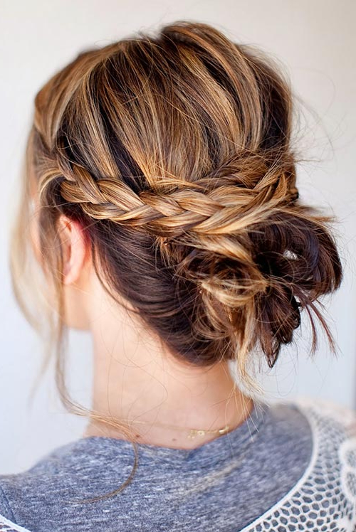 Cool Updo Hairstyles For Women With Short Hair | Fashionisers© inside Most Recent Messy Crown Braid Updo Hairstyles