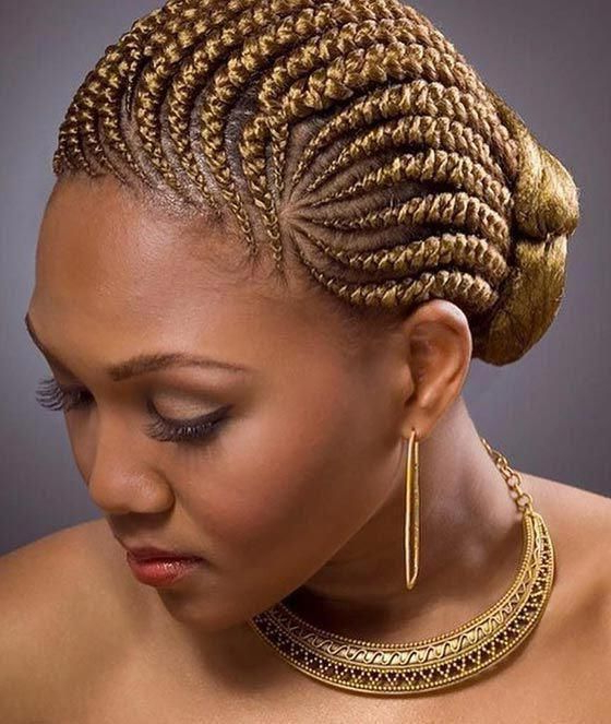 Cornrow Braids Hairstyles - Golden Blonde Cornrows Bun with regard to Recent Blonde Asymmetrical Pigtails Braid Hairstyles