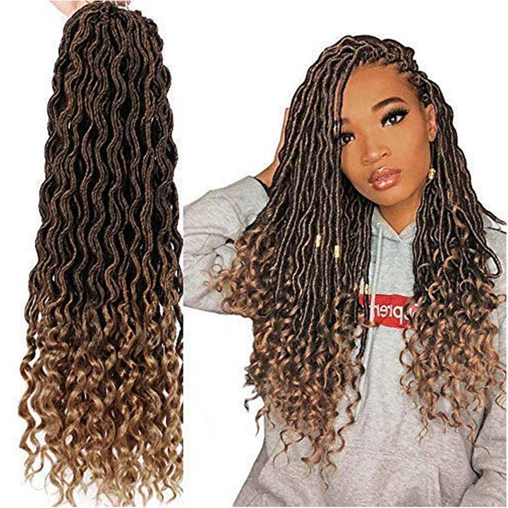 Crochet Braiding Hair 1Pcs/lot Goddess Faux Locs 20 Inch Deep Wave Braiding Hair With Curly Ends Black Mixed Light Brown Heat Resistant Synthetic Hair for Most Recently Light Brown Braid Hairstyles