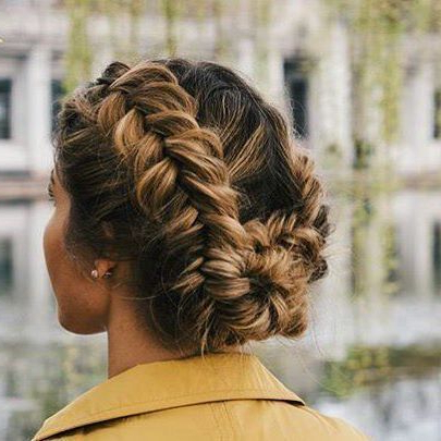 Crown Braid | Updo | Bun | Long Hair Style | Messy | Cute With Most Up To Date Messy Crown Braid Updo Hairstyles (View 7 of 25)