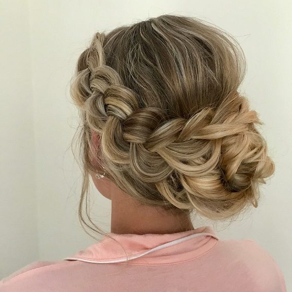 Crown Braided With Swept Back Bridal Hairstyles ,messy With Recent Messy Crown Braid Updo Hairstyles (View 5 of 25)