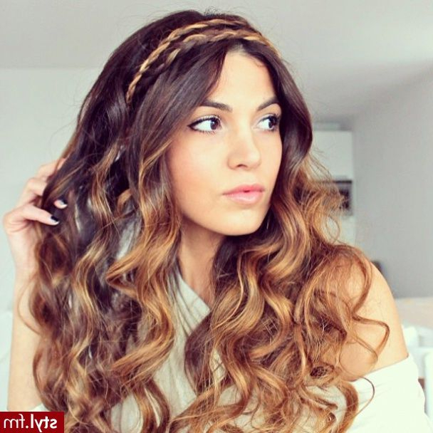 Curly Hair With Braided Headband #curls #braids #ombre Pertaining To Most Popular Braided Headband Hairstyles For Curly Hair (View 2 of 25)