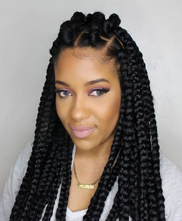 Curly Hairstyle With Crochet Braids | Box Braids In 2019 Intended For Best And Newest Long Bob Braid Hairstyles With Thick Braids (View 2 of 25)