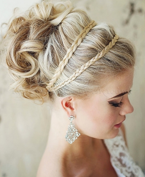Curly Wedding Updos – Curly Wedding Updo With Braided Throughout Most Up To Date Braided Headband Hairstyles For Curly Hair (View 18 of 25)