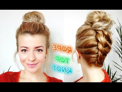 Cute Lazy Girl Hairstyle Upside Down Rope Braid Top Knot Messy Bun | Awesome Hairstyle pertaining to Current Topknot Ponytail Braided Hairstyles