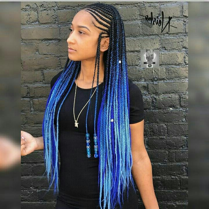 Featured Photo of Blue And Black Cornrows Braid Hairstyles