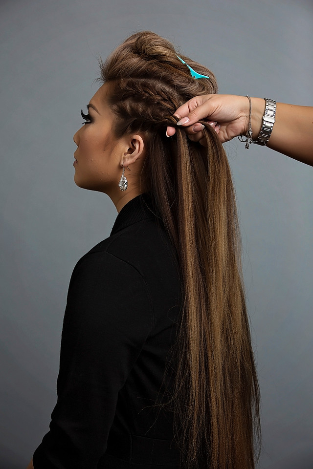 Day To Night Hairstyle | Mohawk Braid Into Fishtail Bun with regard to Best and Newest Mohawk Under Braid Hairstyles