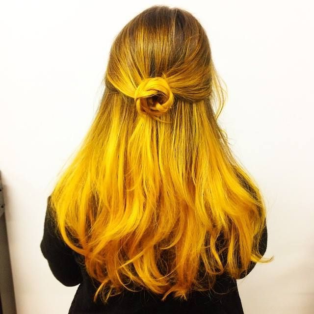 Diy Hair: 15 Orange And Yellow Hair Color Ideas | Hair pertaining to 2018 Red, Orange And Yellow Half Updo Hairstyles